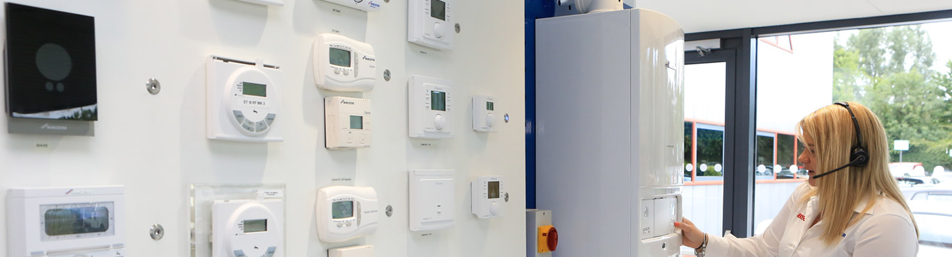 Photo of a customer relations team member looking at various boilers controls.